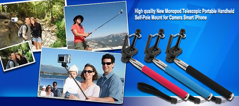 High quality New Monopod Telescopic Portable Handheld Self-Pole Mount for Camera Smart iPhone